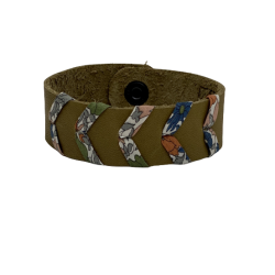 Bracelet femme en cuir olive
